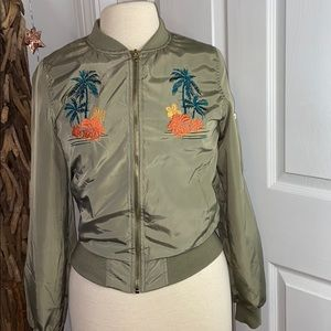 Love Tree Green Aloha Bomber Jacket